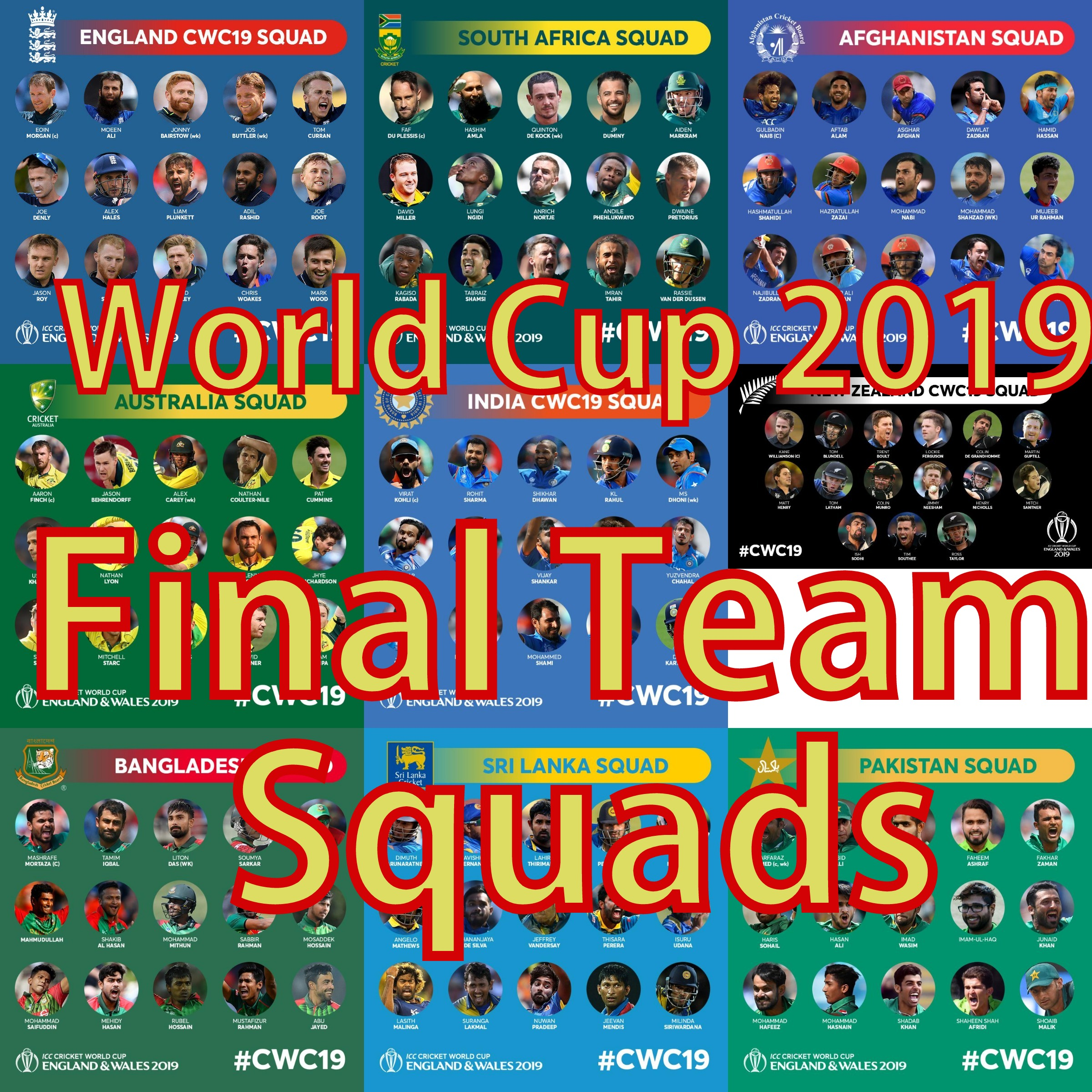All 10 Final Teams Squad for the ICC Cricket World Cup 2019