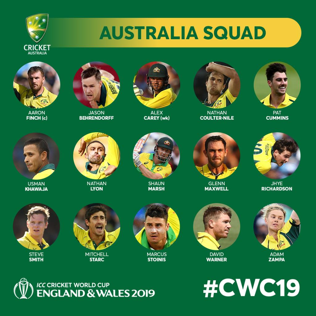 Australia Team Squad for Cricket World Cup 2019