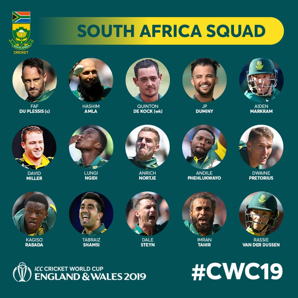 South Africa Team Squad for Cricket World Cup 2019
